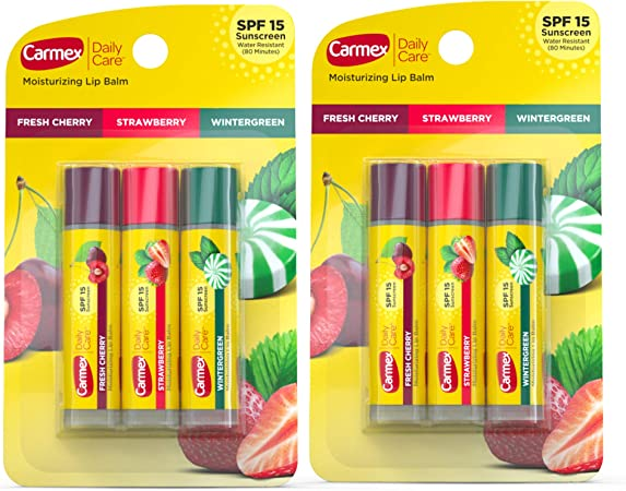 Carmex Daily Care Moisturizing Lip Balm Pack, Lip Balm With Sunscreen in Fresh Cherry, Strawberry and Wintergreen - 3 Count (Pack of 2)