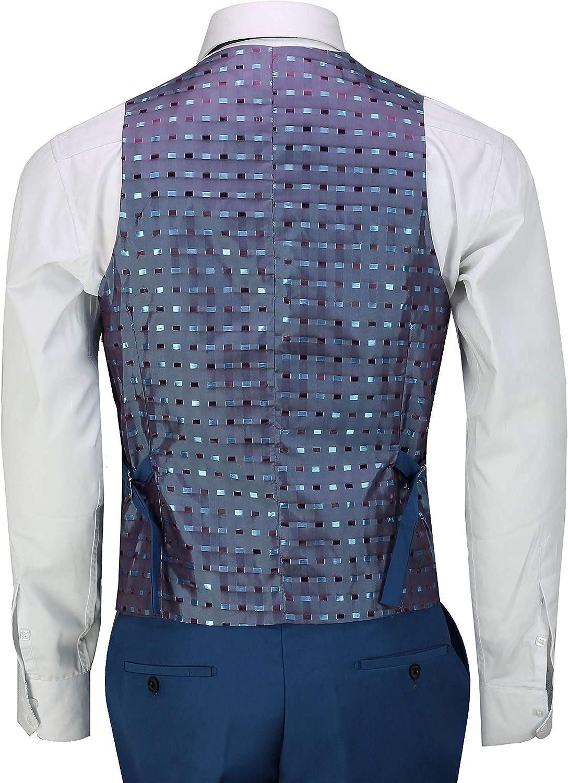 Xposed 3 Pezzi Completo Affari Uomo in Blu Elegante Informale Classico vestibilit/à su Misura Office Opera Formale