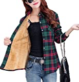 Lashapear Womens Winter Long Sleeve Fleece Plaid Shirt Flannel Warm Blouse