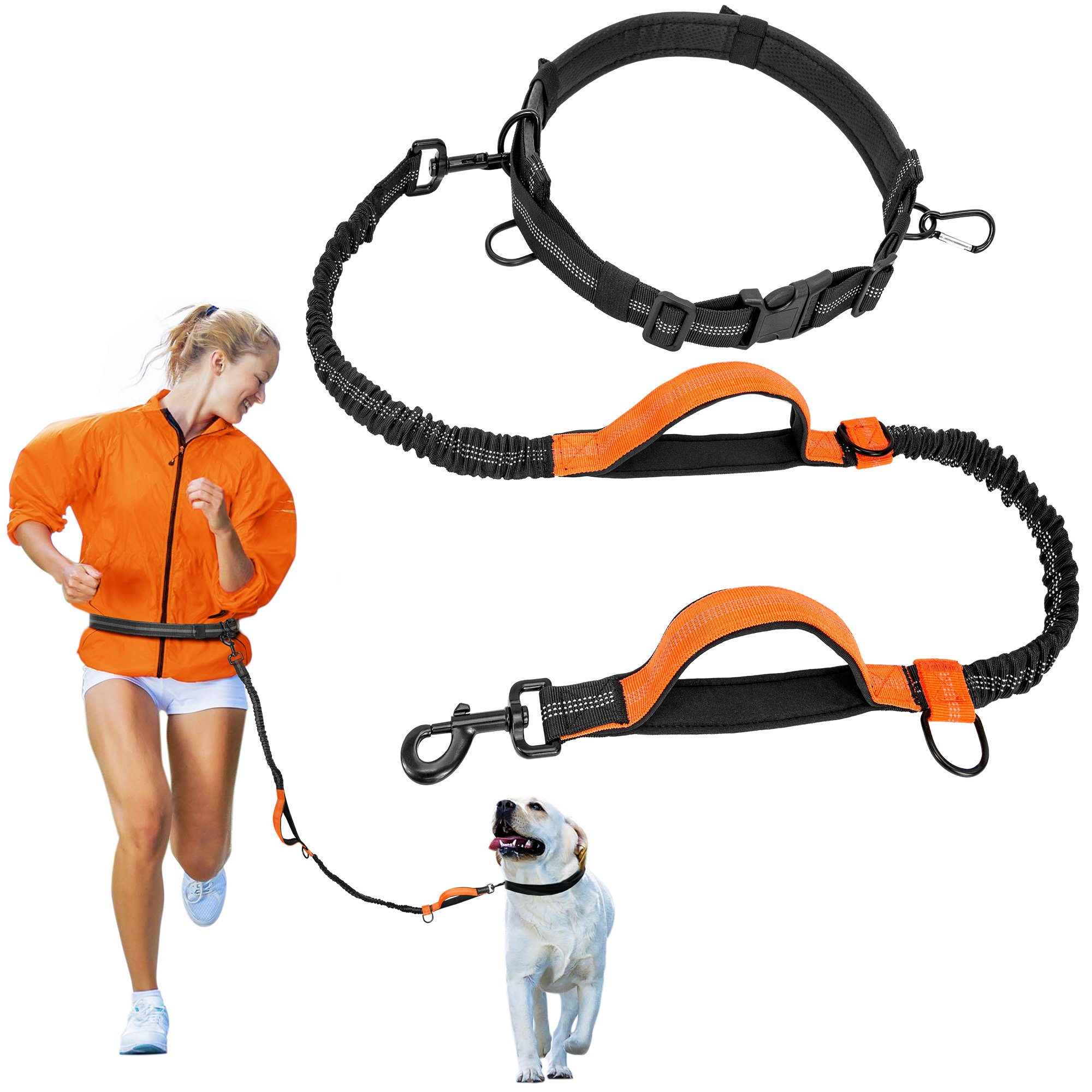 iSPECLE Hands Free Dog Leash, Retractable Dog Leash with Dual Bungees for Dogs, Double Padded Reflective Waist Running Leash Strong Adjustable Waist Belt for Running Walking up to 150lbs Large Dogs