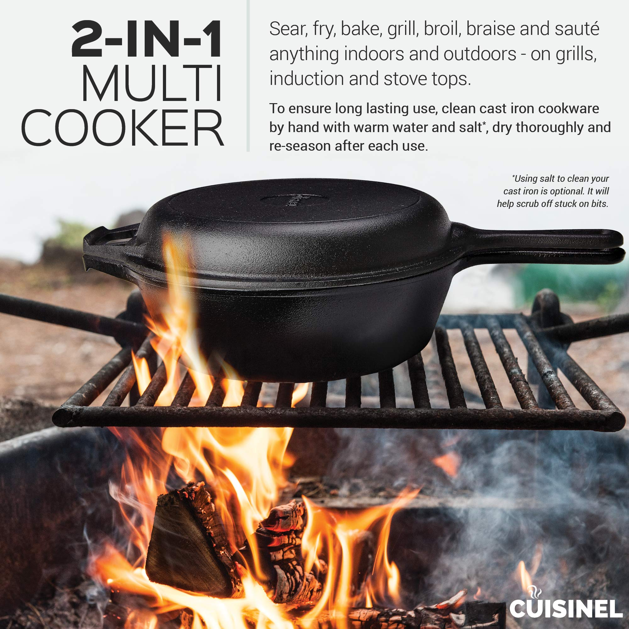 Pre-Seasoned Cast Iron 2-In-1 Multi Cooker | 3-Quart Dutch Oven and Skillet Lid Set Oven Safe Cookware | Use As Dutch Oven and Frying Pan | Indoor and Outdoor Use | Grill, Stovetop, Induction Safe by cuisinel (Image #5)