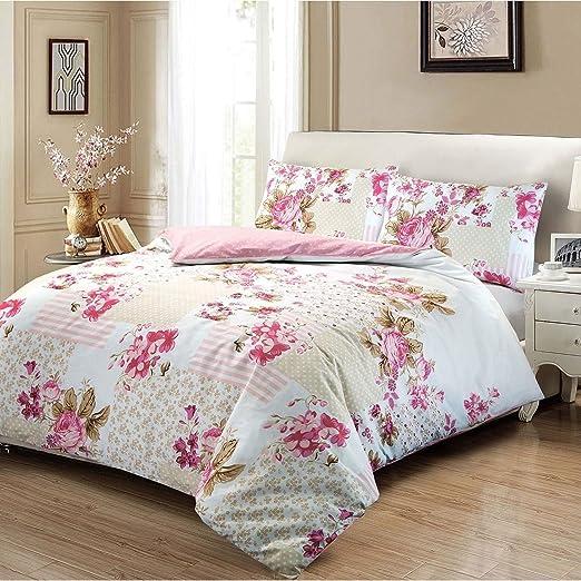 Set de fundas nórdicas 100% algodón con estampado floral de rosas ...