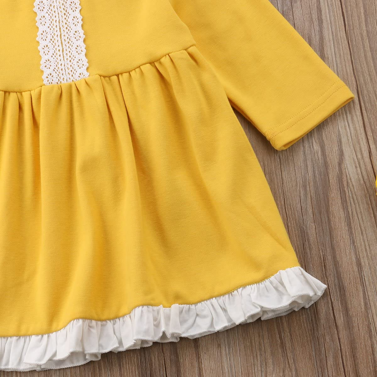 Toddler Baby Girl Kids Fall Long Sleeve Cute Ruffle Trimmed Casual Cotton Dress
