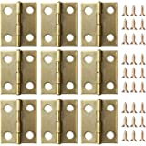 eBoot 50 Pieces Mini Cabinet Drawer Butt Hinges Connectors with 200 Pieces 5 mm Mini Brass Hinge Replacement Screws