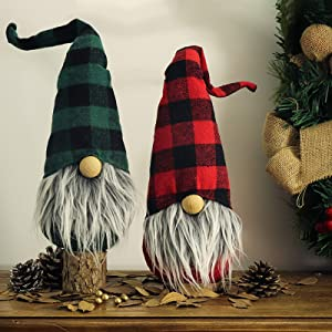 Ivenf Christmas Decorations, 2 Pcs 17 inches Plush Handmade Tomte Gnome Swedish Scandinavian Santa with Plaid Hat, Party Gift Birthday Present, Holiday Home Decor Ornaments