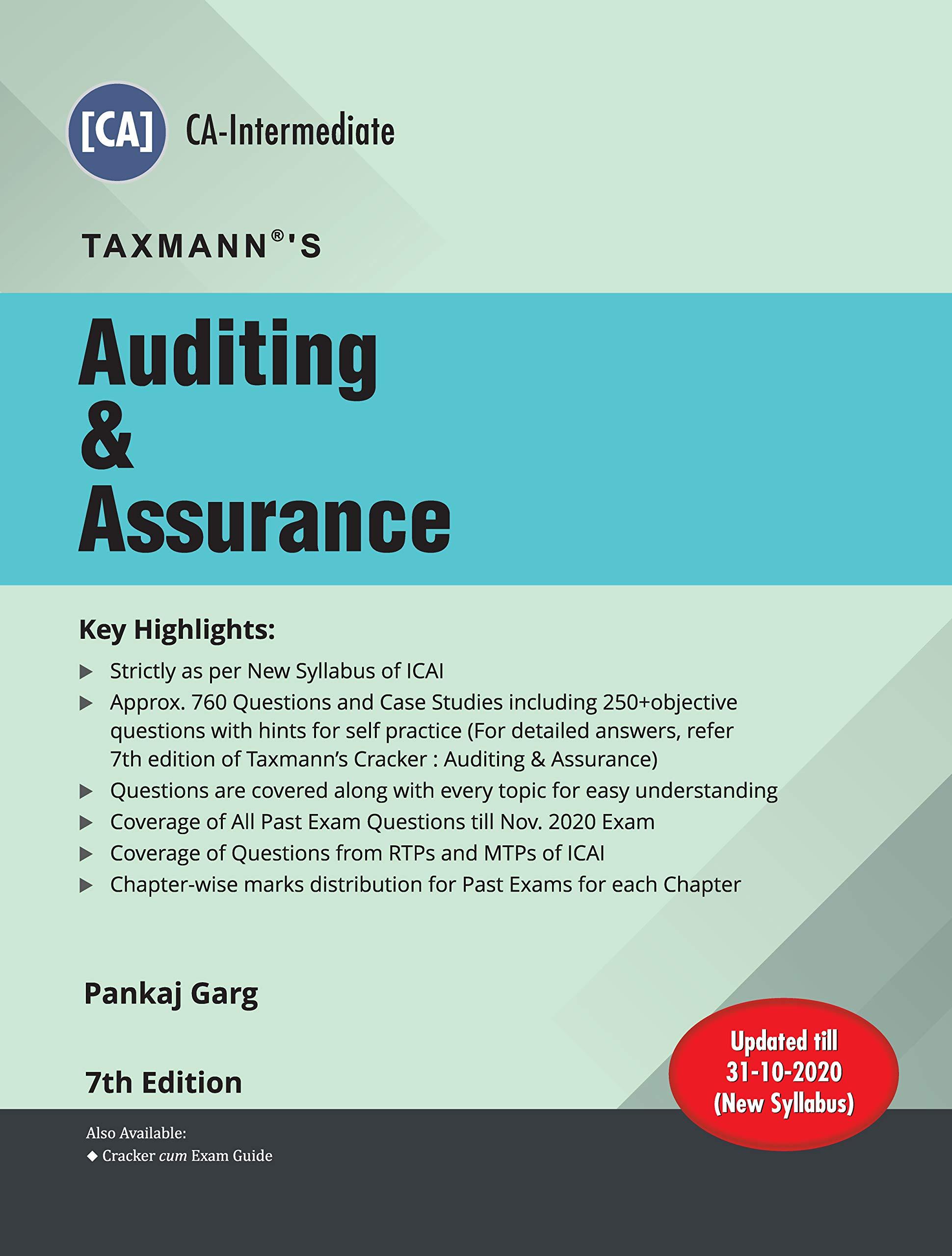 Taxmann's Auditing & Assurance   CA-Intermediate – New Syllabus   Updated till 31-10-2020   7th Edition   2021