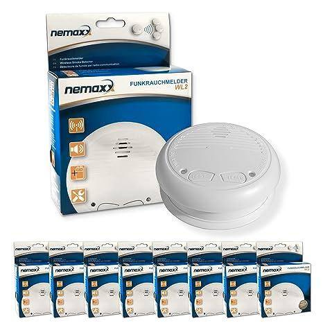 Nemaxx WL2 - Detectores de humo inalámbricos, 8 unidades, cumplen con normativa EN 14604