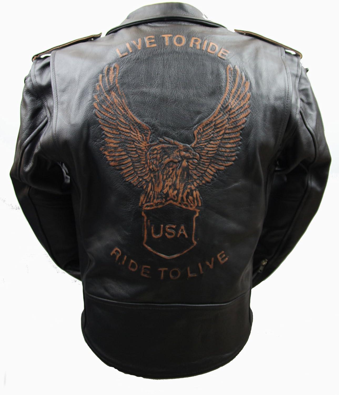 Kc502 GILET bol/éro cuir noir KARNO Live To Ride USA