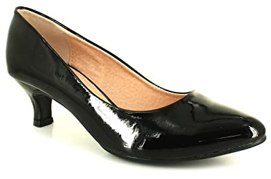 New Womens/Ladies Black Patent Wide Fit Kitten Heel Court Shoes