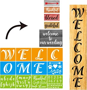 CZONG 12 PCS Colorful Large Welcome Sign Stencil Reusable Stencils Set for Painting on Wood and Letter Stencil Large Farmhouse Stencils for Holiday Decorating Home Decor Patio Porch Signs & Front Door