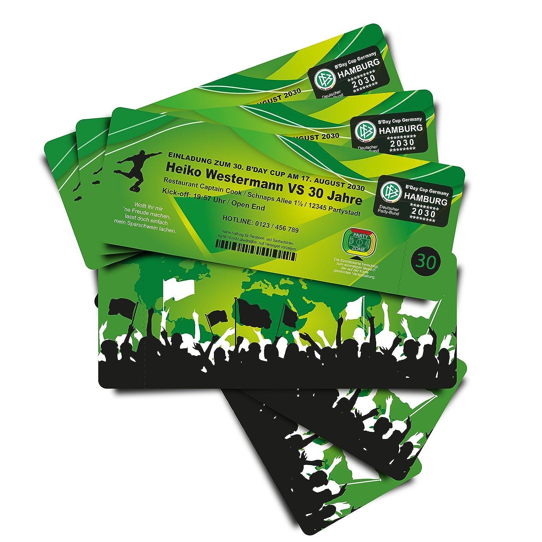 40 Geburtstagskarten Einladungskarten als Fussballticket - grün - Fussballkarten Ticket Eintrittskarte mit Abriss-Coupon B076GBDJXK | Verschiedene Waren