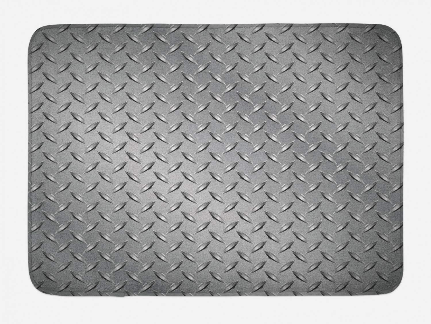 "Ambesonne Grey Bath Mat, Fence Design Netting Display with Diamond Plate Effects Chrome Motif Print Illustration, Plush Bathroom Decor Mat with Non Slip Backing, 29.5"" X 17.5"", Silver"
