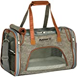 Premium Airline Approved Soft Sided Pet Carrier, Low Profile Luxury Travel Bag with Fleece Bedding & Safety Lock, Under Seat Compatibility, Perfect for Cats and Small Dogs