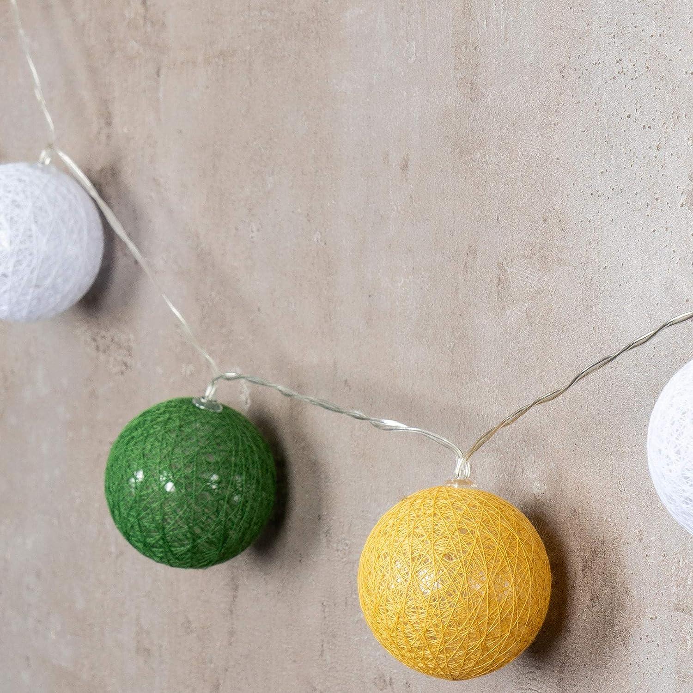 levandeo 10er Lichterkette LED Kugeln Lampions Baumwolle Braun Gelb Wei/ß Cotton Girlande Deko Cottonballs