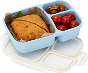 Leakproof, 3 Compartment, Bento Lunch Box, Airtight Food Storage Container (1 Pc) - Blue