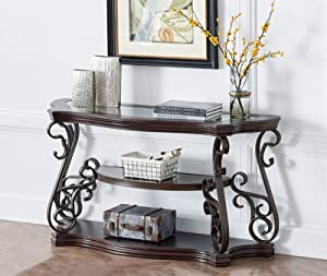Zebery Console Sofa Table with Tempered Glass Top and MDF W/Marble Paper Middle Shelf,Large Console Table Solid Wood Powder Coat Finish Metal Legs,54x20x30