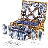 VonShef 4 Personen Weidenkorb Picknickkorb Tragekorb Set mit Besteck, Tellern, und Weingläsern, Futter aus blauem Karomuster