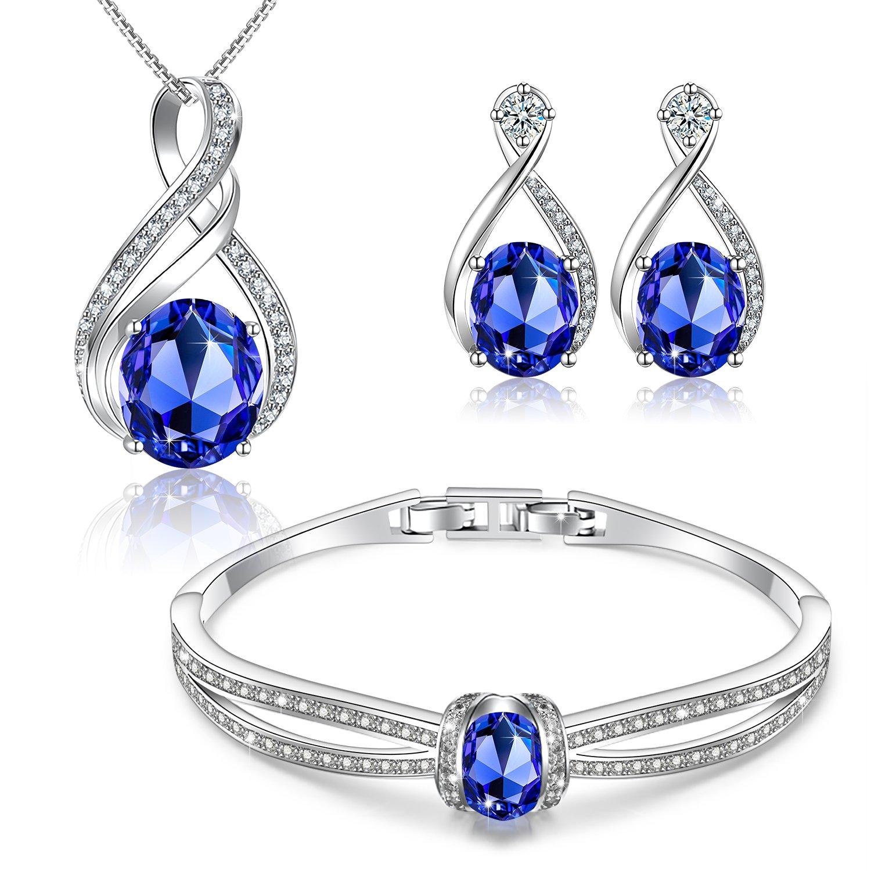 Menton Ezil Charming Nobile Swarovski Jewelry Sets with Sapphire Blue Necklace 18K White Gold Bracelet Earrings for Women by Menton Ezil