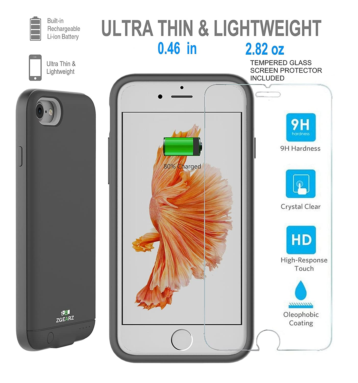 big sale e5fb2 12526 Amazon.com: iPhone 7 Ultra Thin Battery Case, ZgearZ 2400mAh Charger ...