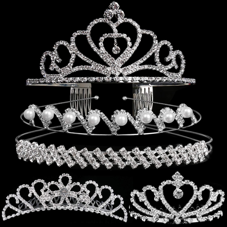 Set of 5 Crystal Headband, Teenitor Rhinestone Headbands for Women Hair Jewelry Wedding Headband Crown Party Tiaras-Silver by Teenitor