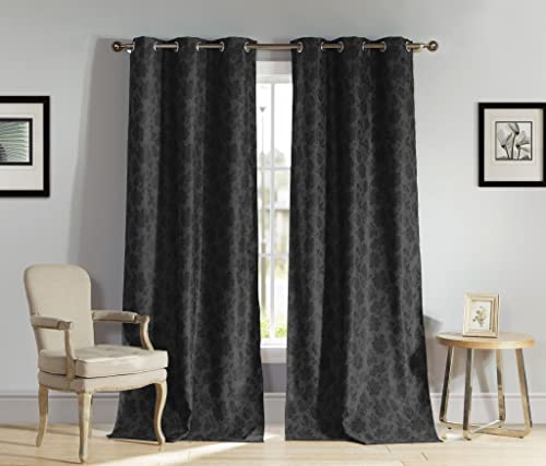 Heavy Insulated Floral Print Energy Saving Blackout Window Grommet Top Curtains 54 inch Wide by 84 Long Assorted Colors Set of 2 Panel Room Darkening Drapes – Black