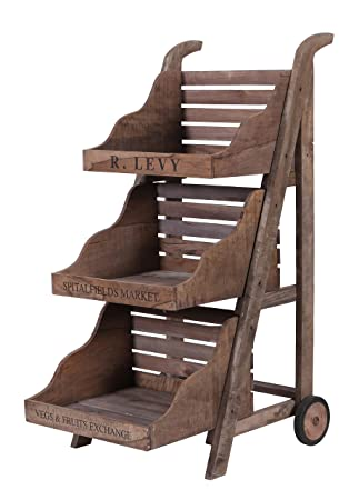 Hollyberry Home 3 Tier Display Cart on Wheels, Multicolour, 135 x 85