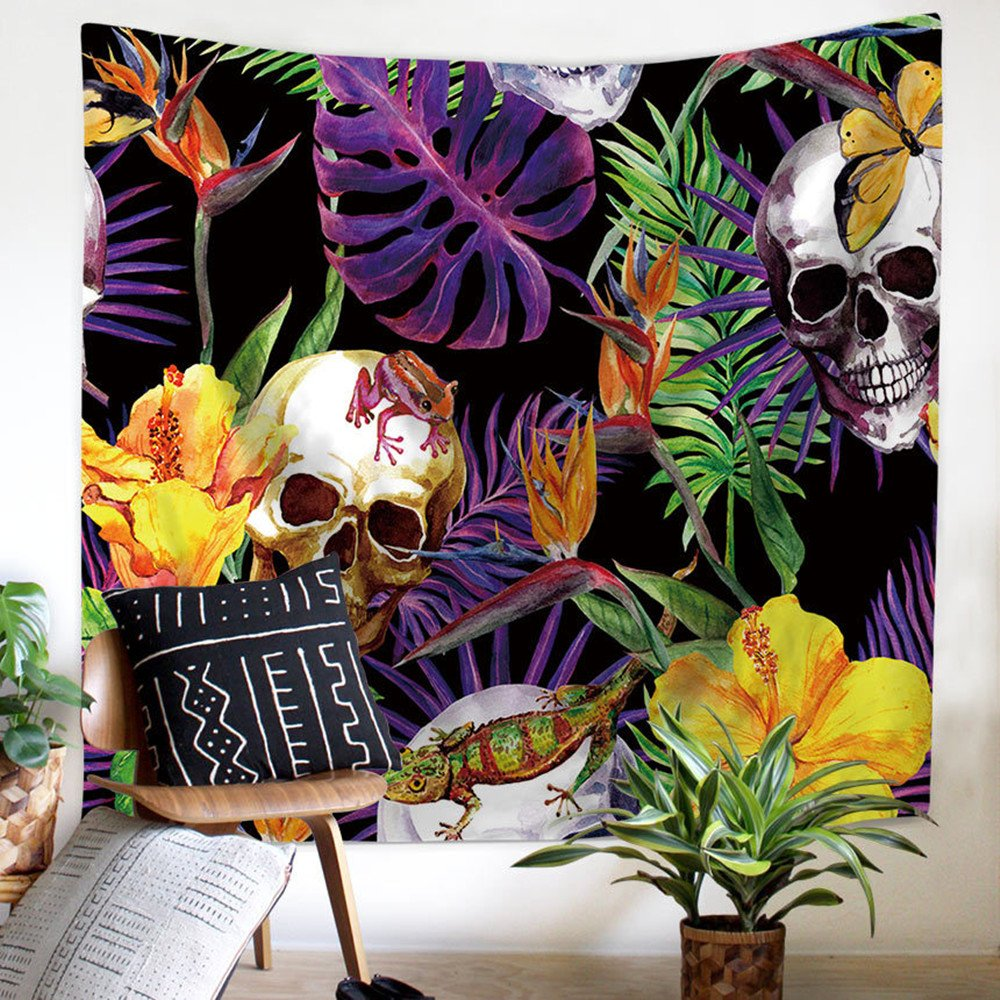 "Floral Tropical Skull Tapestry Halloween Decor Gothic Skull Tapestries 3D Skeletons Colorful Wall Hanging Indian Home Decor Bohemian Wall Art for Living Room, Bedroom, Dorm, 59""x 51"" by ZHH 59""x 51"" by ZHH"