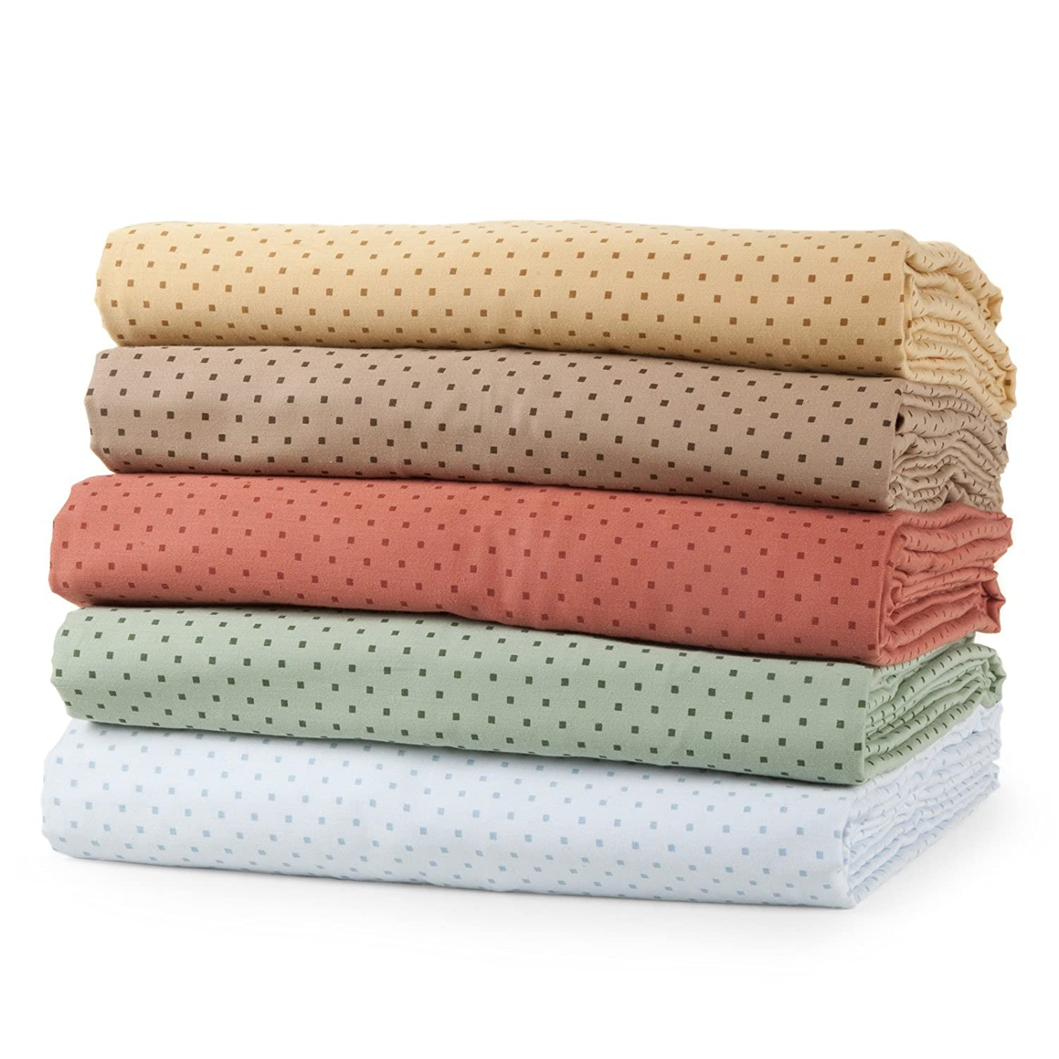 Carleton Collection 300 Thread-Count 100-Percent Cotton Sateen Printed Dot 4-Piece Sheet Set