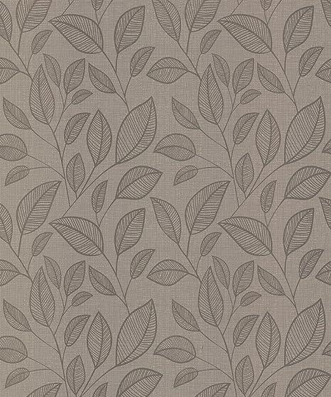 Belgravia Decor Rosemoor Rose Wallpaper 9542 Textured Metallic Leaf Trail