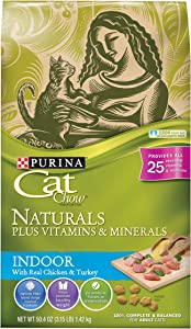 Purina Cat Chow Dry Cat Food, Naturals Indoor, 3.15 Pound Bag, Pack Of 6