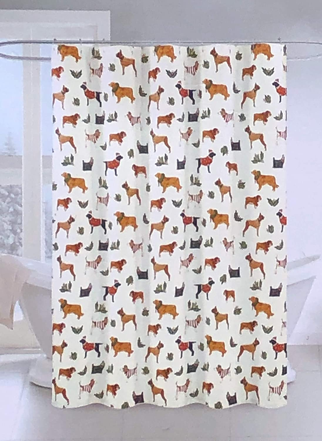 Ridgefield Home Holiday Style Shower Curtain Dogs in Christmas Sweaters Wreaths