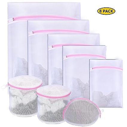 Seamei Bolsa de lavandería de Malla, Paquete de 8 Bolsas de Lavado con Cremallera para Lavadora, 7 tamaños Bolsas de Lavado de Red Reutilizable con ...