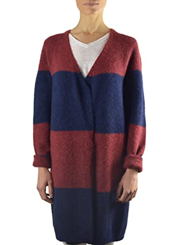 Annalisa Bucci Cashmere 12d69002, Cardigan Donna, Multicolore (Righe Rosse Blu), 44 (Taglia Produtto...