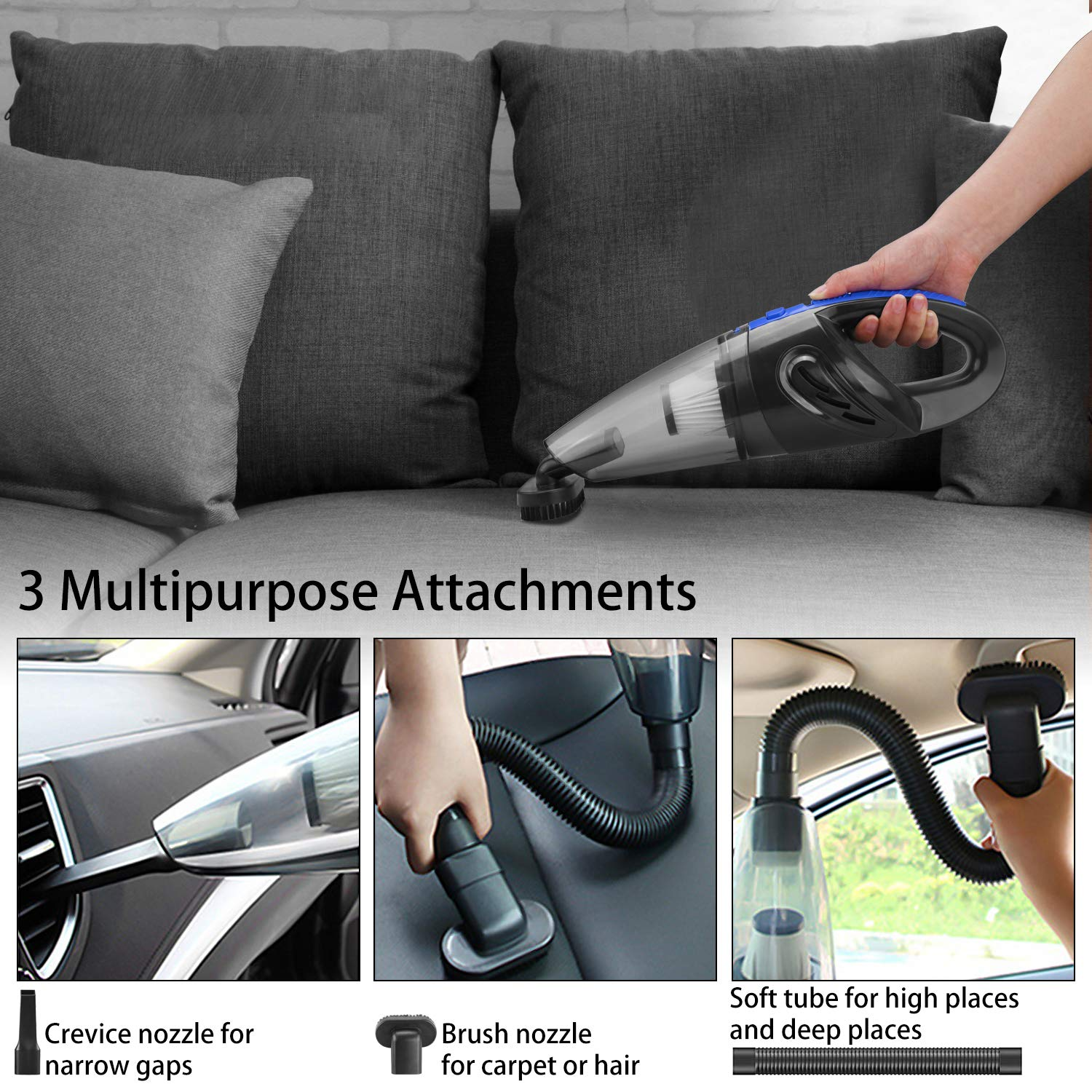 Tabiger Handheld Vacuums Cordless 2019 New Updated Lightweight Hand Held Vacuum Rechargeable Car Vacuum Cleaner with 3000 Pa Powerful Suction for Home Stairs Car Dust Pet Hair