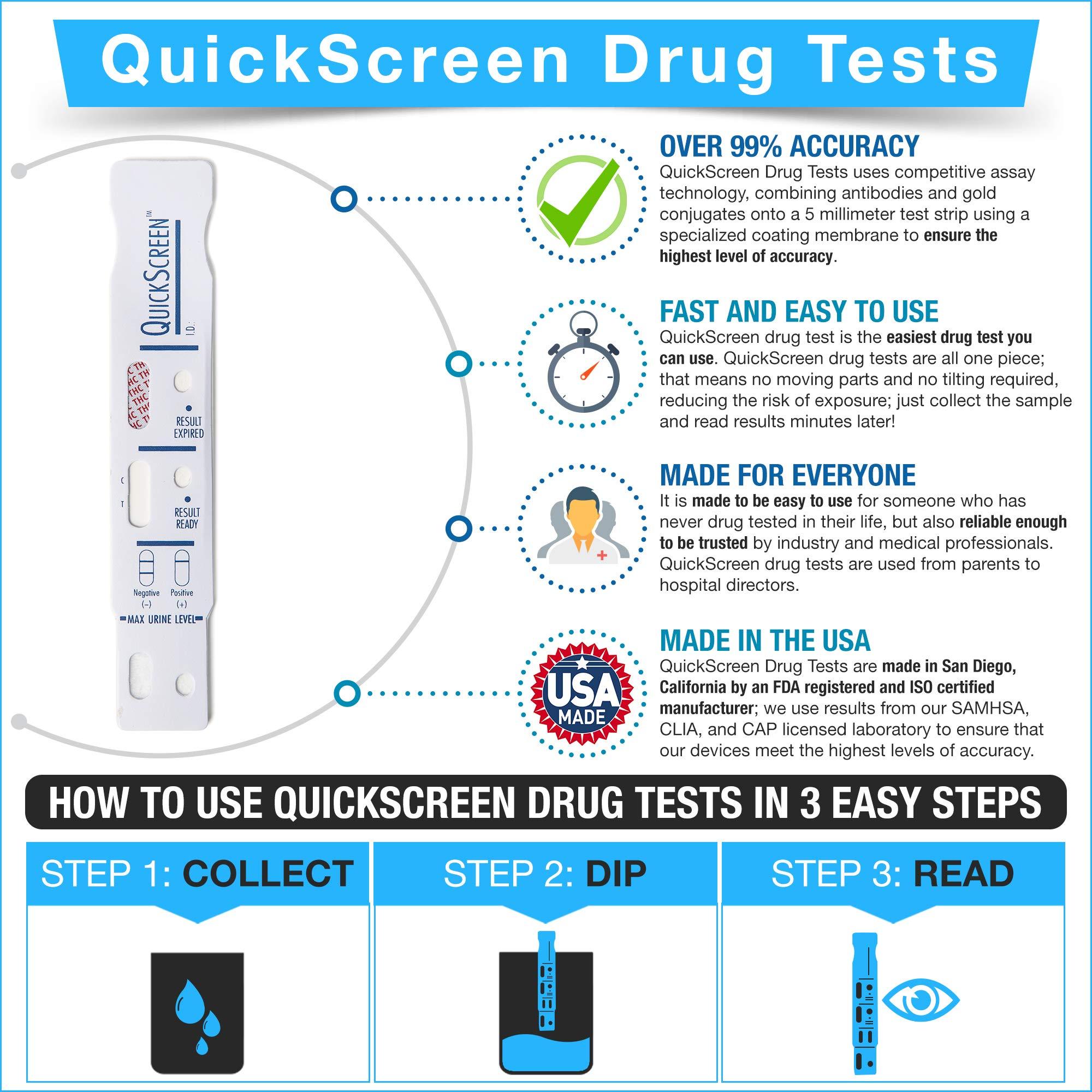 QuickScreen 1 Panel Urine Drug Dip Card 9077T - Marijuana - THC (50) - Made in USA by QuickScreen (Image #1)