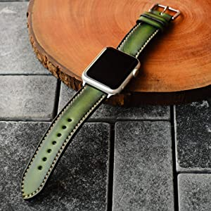 Jade Green Apple Watch Band 38mm 40mm 42mm 44mm,Series 5 Series 4 Series 3 Series 2 Series 1,Hand-Stitched Handmade Apple Watch Leather