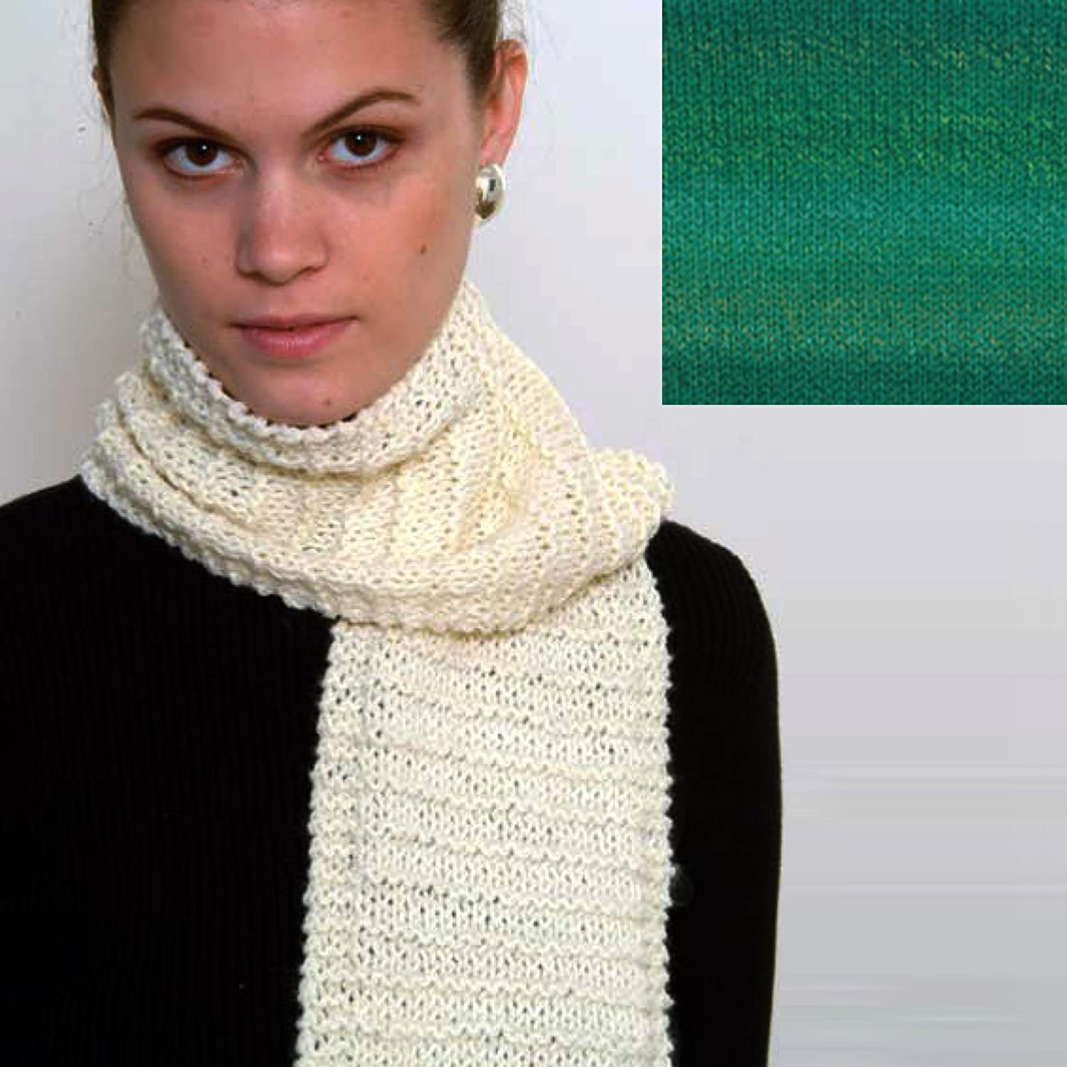Forest Green Beginners Scarf Knit Kit with Encore Worsted Yarn