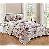 Smart Linen Reversible Coverlet Bedspread Bedding Set Oversize Bermuda Flower Floral Bed Cover New # Lily (Purple, Full/Queen