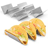 """Stylish Stainless Steel Taco Holder Stand, Taco Truck Tray Style, Rack Holds Up to 3 Tacos Each, Oven Safe for Baking, Dishwasher and Grill Safe, 4"""" x 8"""" by California Home Goods (2 Pack)"""