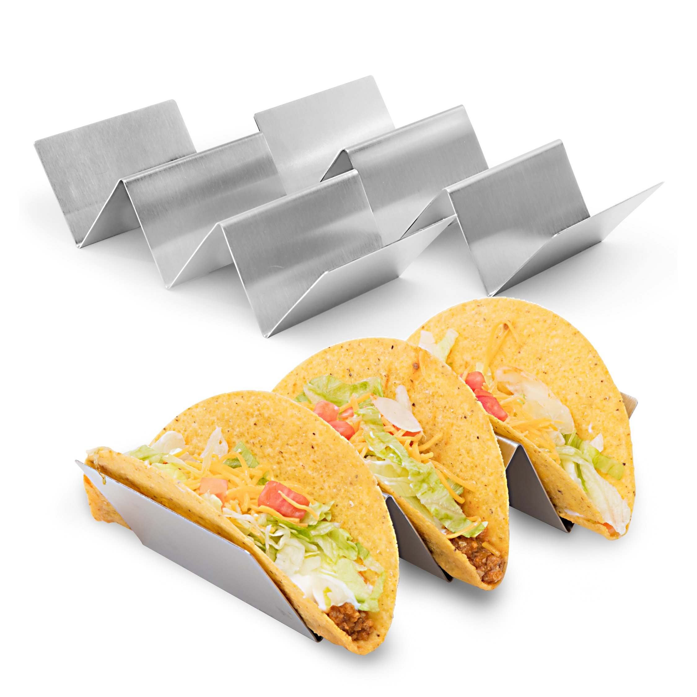 "2 Pack - Stylish Stainless Steel Taco Holder Stand, Taco Truck Tray Style, Rack Holds Up to 3 Tacos Each, Oven Safe for Baking, Dishwasher and Grill Safe, 4"" x 8"", by California Home Goods by California Home Goods (Image #1)"