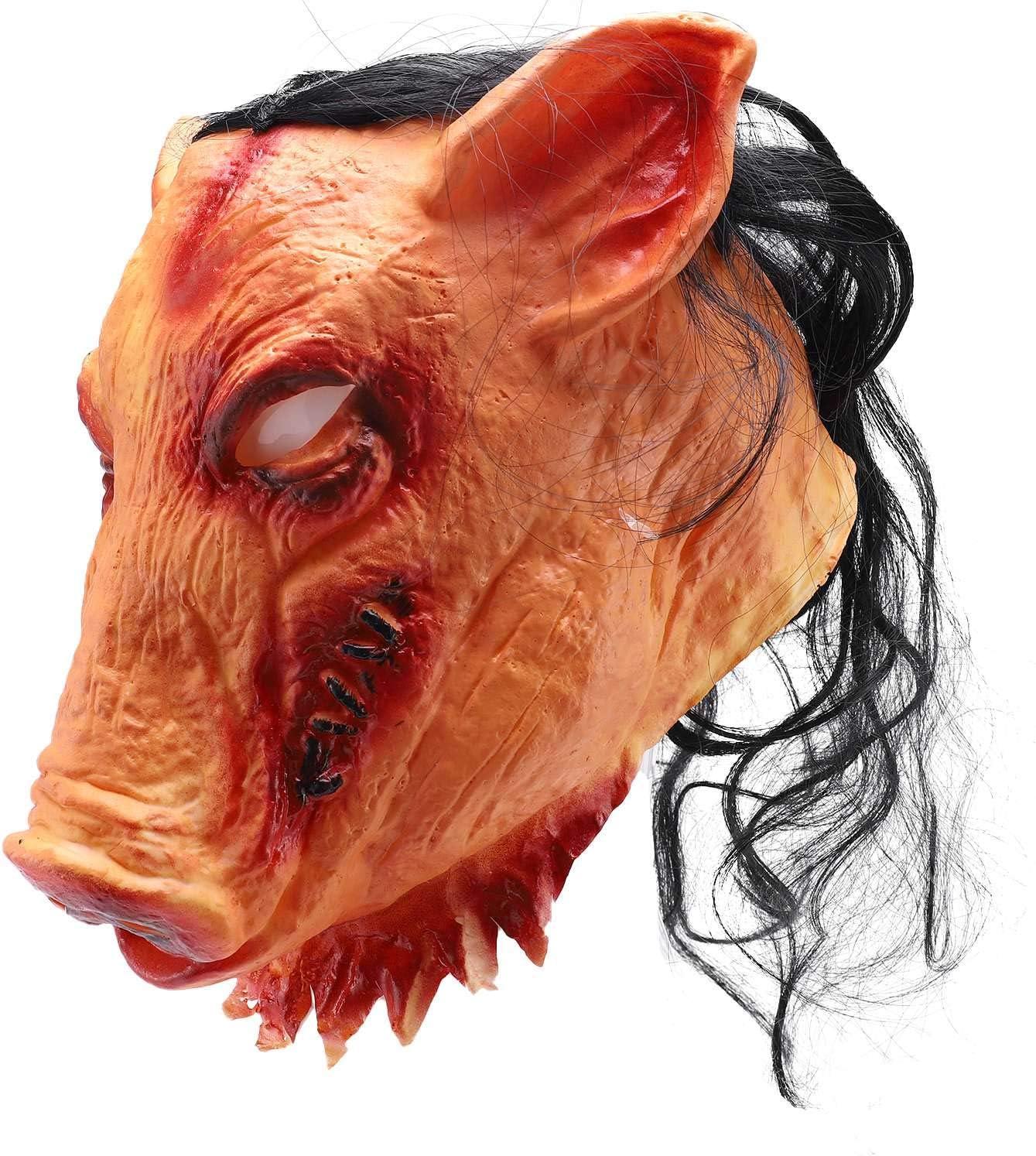 TOOGOO MáScaras de Miedo de Halloween Novedad Cabeza de Cerdo Horror con del Cabello Caveira Disfraz de Cosplay Suministros Realistas del Festival de LáTex