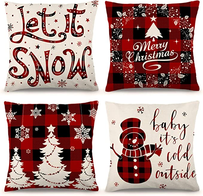 Amazon Com Zjhai Christmas Pillow Covers 18 18 Inch Set Of 4 Farmhouse Black And Red Buffalo Plaid Pillow Covers Holiday Rustic Linen Pillow Case For Sofa Couch Christmas Decorations Throw Pillow Covers Home