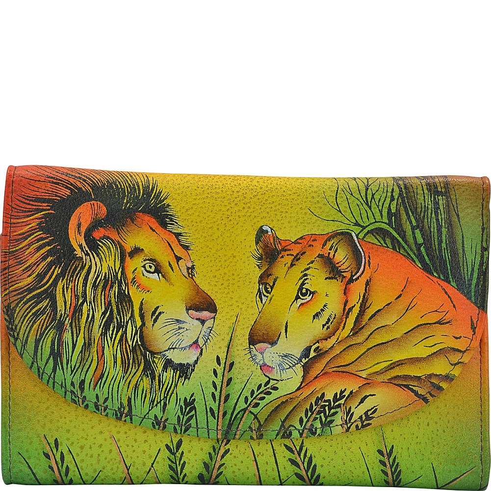 Anna by Anuschka Hand Painted Leather Women'S Three Fold Checkbook Wallet, Lion in Love