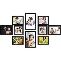 Amazon Brand - Solimo Collage Photo Frames, Set of 10,Wall Hanging (4 pcs - 4x6 inch, 2 pcs - 5x7 inch, 2 pcs - 6x10 inch, 2 pcs - 5x5 inch),Black
