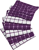 "DII 100% Cotton, Machine Washable, Ultra Absorbant, Basic Everyday 12 x 12"" Terry Kitchen Dish Cloths, Windowpane Design, Set of 6- Eggplant"