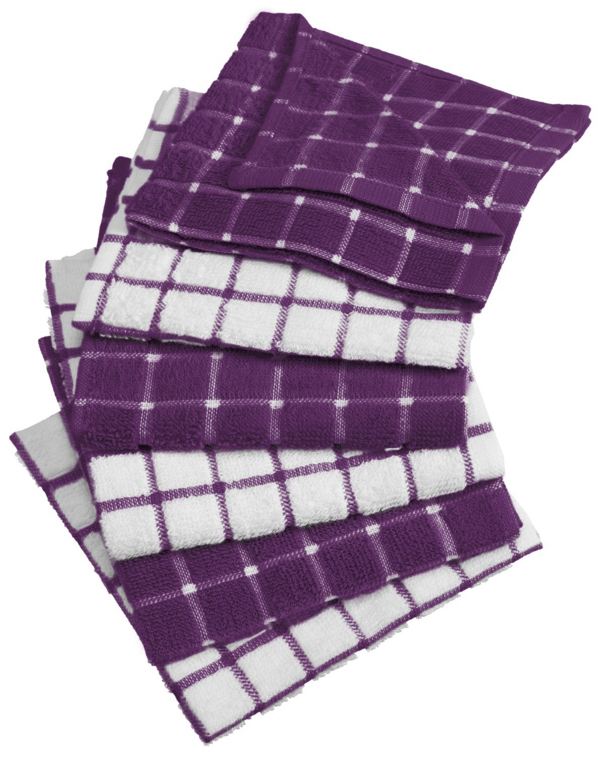 DII Cotton Terry Windowpane Dish Cloths, 12 x 12 Set of 6, Machine Washable Ultra Absorbent Kitchen Dishcloth-Eggplant