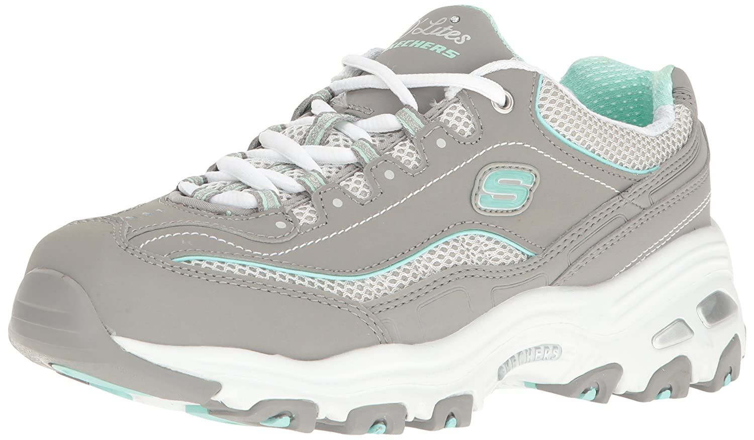 Grey  White  Mint Skechers Sport Women's D'Lites Looking Glass Fashion Sneaker