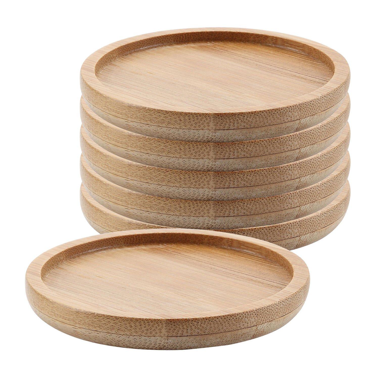 T4U 3.25 Inch Bamboo Round Bamboo Tray Sandy Beige Set of 6