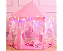 """Princess Castle Play Tents for Girls, Kids Play Tent with Star Lights, Bonus Princess Tiara and Wand, Large Size 55"""" x 53"""" Pi"""