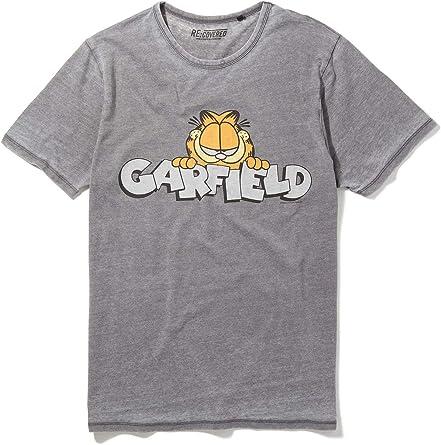 Recovered Garfield Vintage Peeking Logo Mid Grey T Shirt Amazon Com